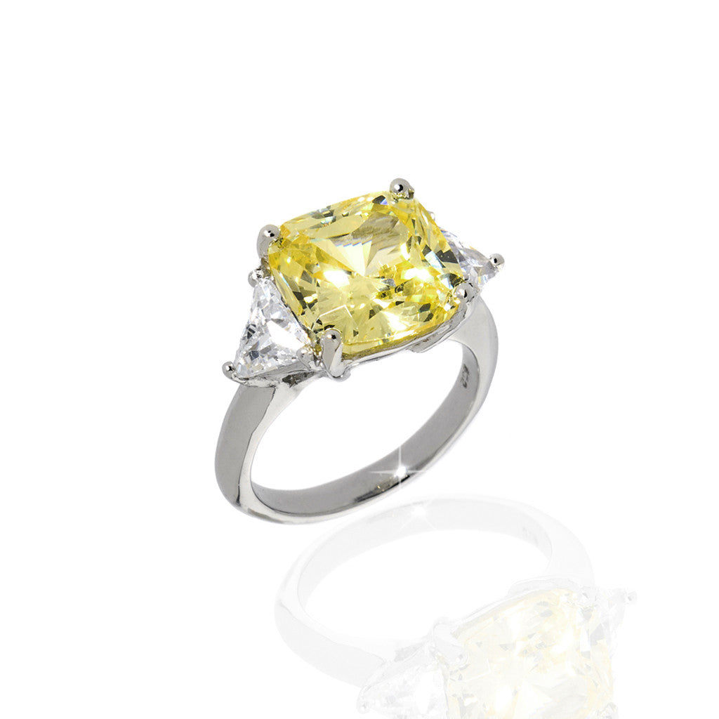 Sterling Silver Cushion Cut Canary Yellow Cubic Zirconia 7.50 CT