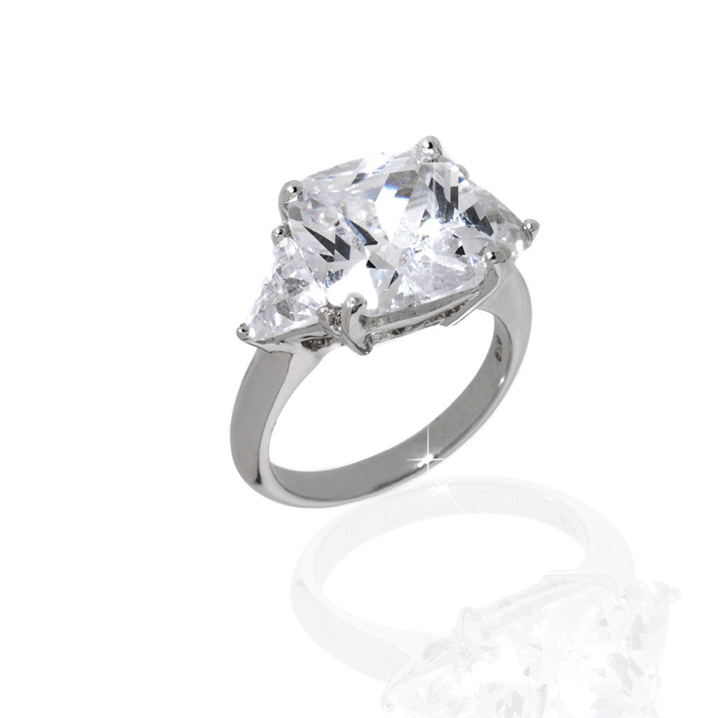 Sterling Silver 7.50 CT Cushion Cut Cubic Zirconia