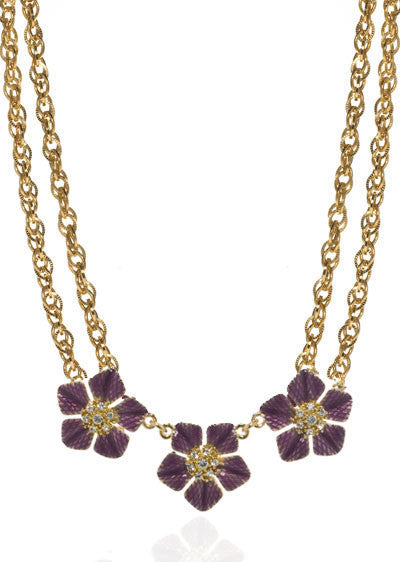 Garden of Love Amethyst Tone Triple Flower Collar Necklace