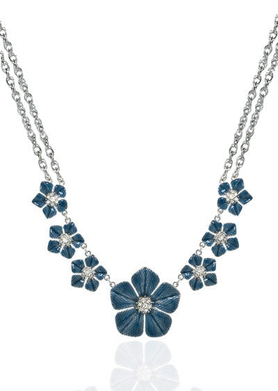 Garden of Love Blue Large Flower Collar Necklace