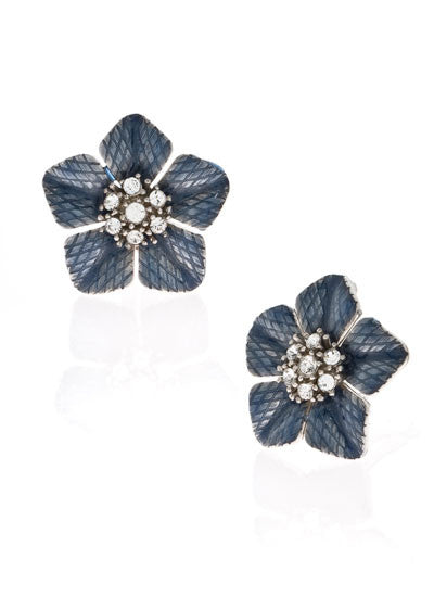 Garden of Love Blue Large Flower Earrings