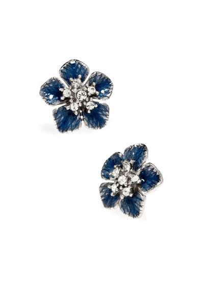 Garden of Love Blue Small Flower Earrings
