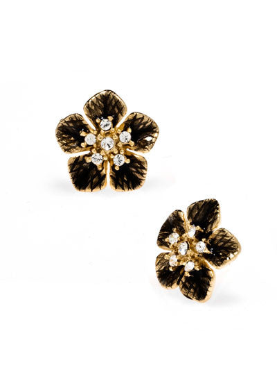 Garden of Love Brown Small Flower Earrings