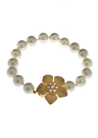 Garden of Love Gold Flower & Pearl Bracelet