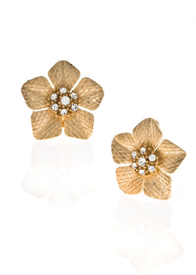Garden of Love Gold Large Flower Earrings