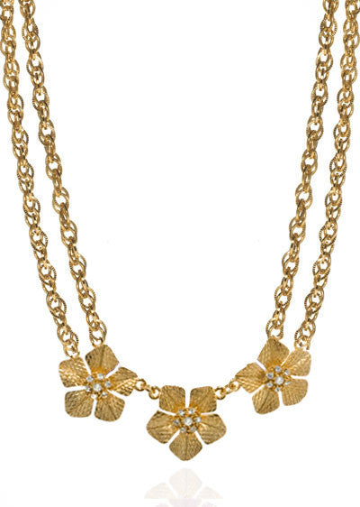 Garden of Love Gold Tone Triple Flower Collar Necklace