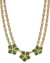 Garden of Love Green Triple Flower Collar Necklace