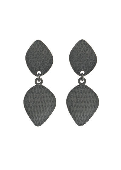 Garden of Love Hematite Curved Diamond Drop Earrings