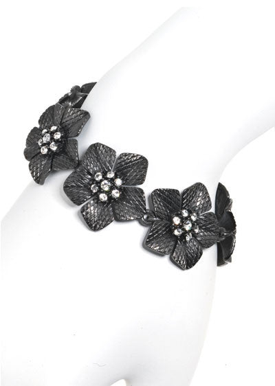 Garden of Love Hematite Flower Bracelet