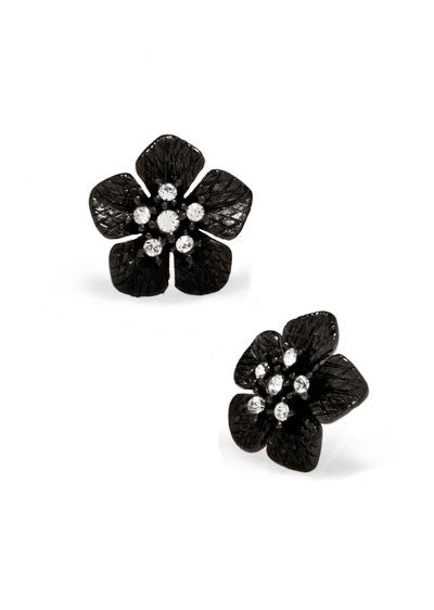 Garden of Love Hematite Small Flower Earrings