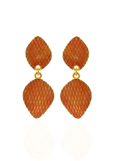 Garden of Love Orange Curved Diamond Drop Earrings
