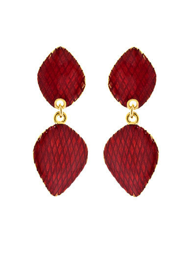 Garden of Love Red Curved Diamond Drop Earrings