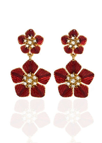 Garden of Love Red Flower Drop Earrings