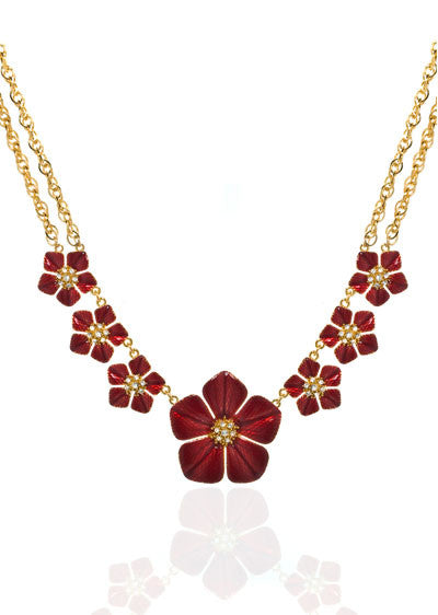 Garden of Love Red Large Flower Collar Necklace