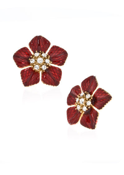 Garden of Love Red Large Flower Earrings