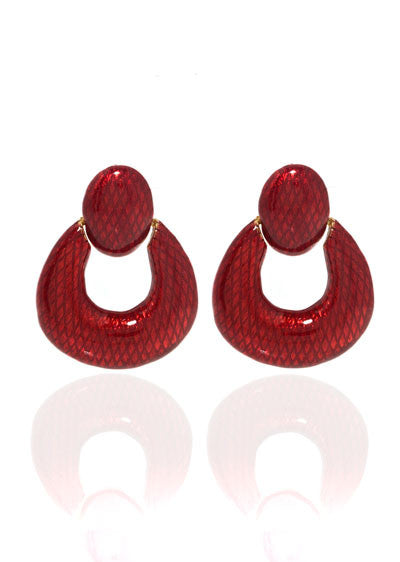 Snakeskin Red Open Tear Drop Earrings