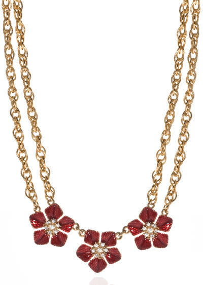 Garden of Love Red Triple Flower Collar Necklace