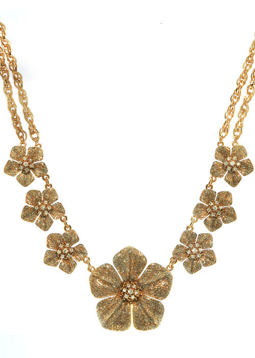 Garden of Love Stardust Rose Gold Large Flower Collar Necklace