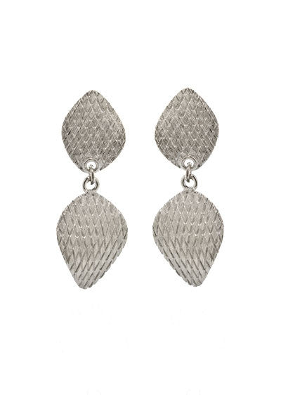 Garden of Love Silver Curved Diamond Drop Earrings