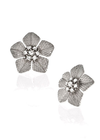 Garden of Love Silver Large Flower Earrings