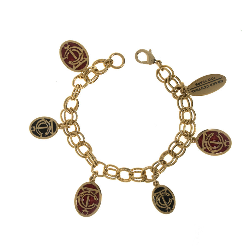 Grand Central Red and Black Goldtone Charm Bracelet