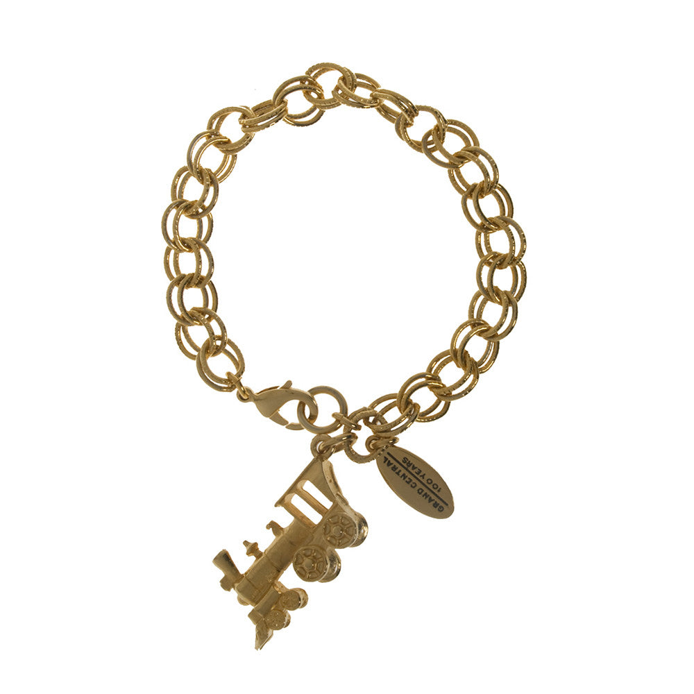 Grand Central Goldtone Locomotive Charm Bracelet