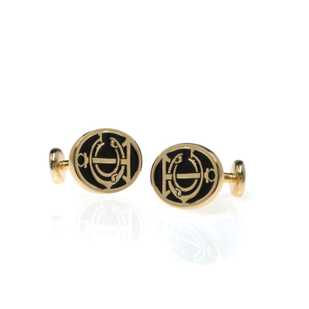 Grand Central Black Goldtone Cufflinks