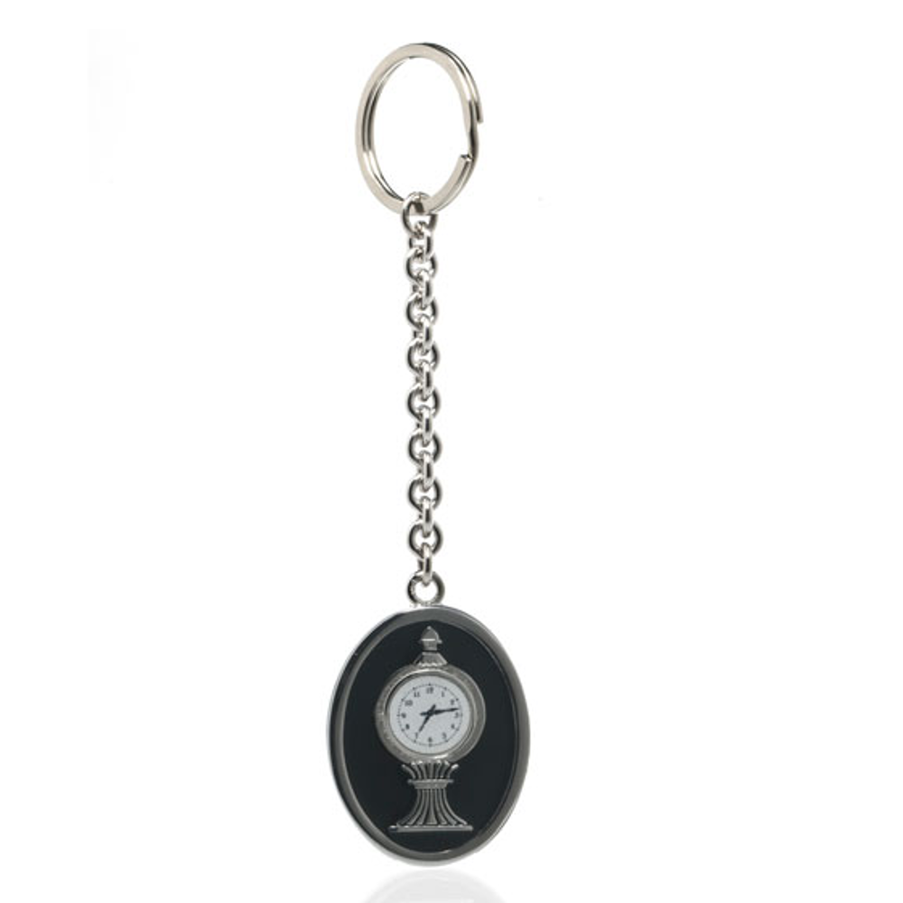 Grand Central Black Silvertone Clock Keyring
