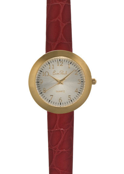 Gold Tone Red Leather Strap Watch