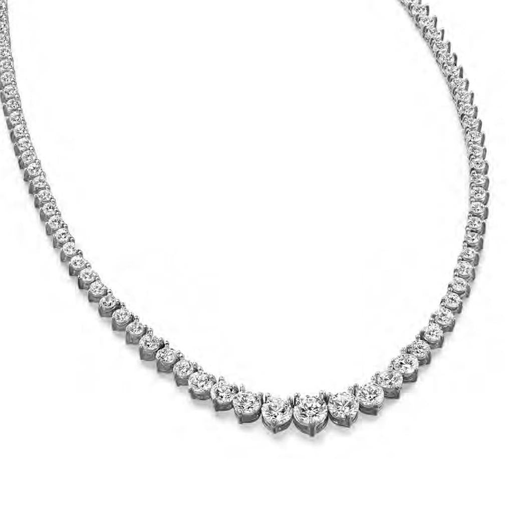 Sterling Silver Tennis Necklace 21 CT