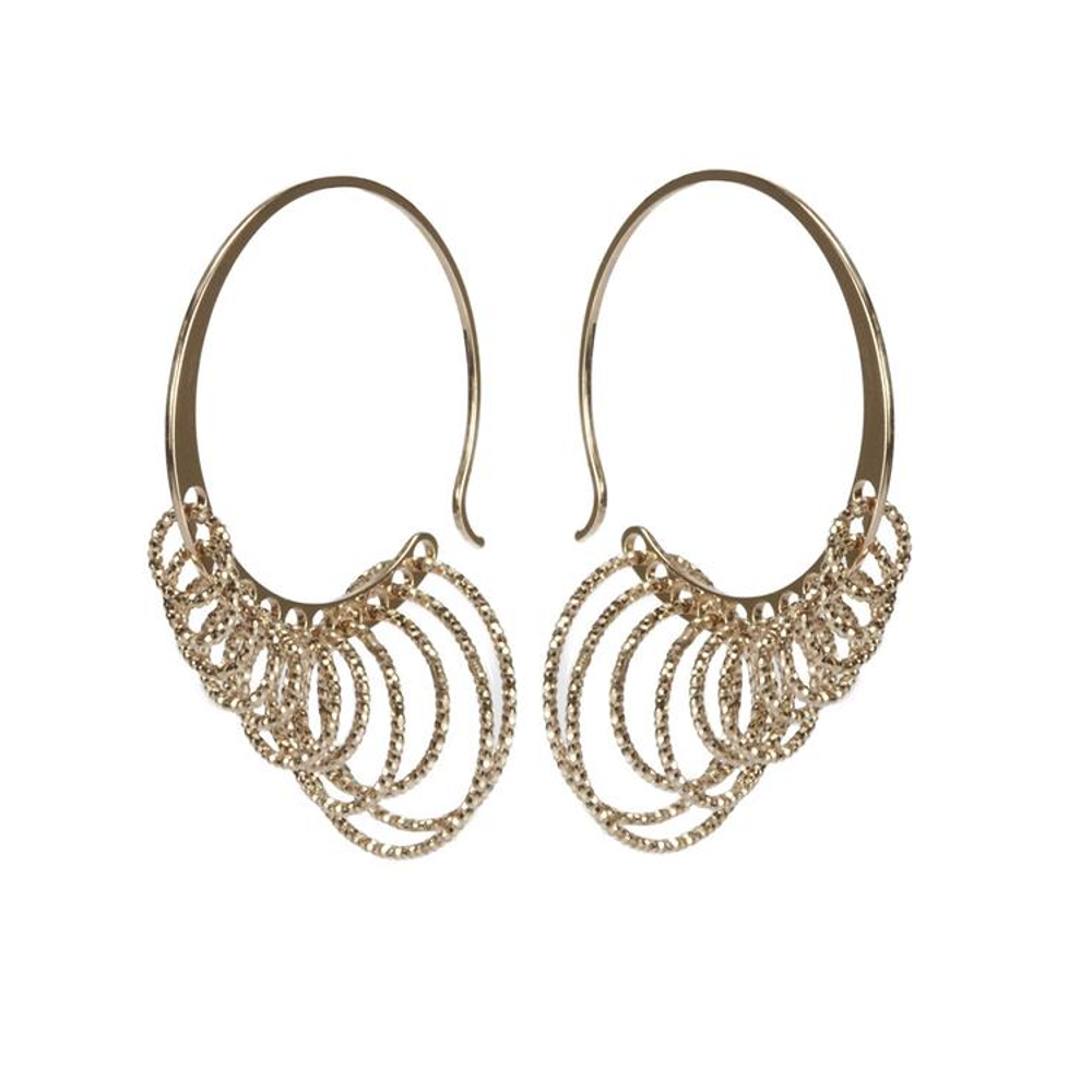 22k Rose Gold Plated Sterling Silver Multiple Hoop Earrings