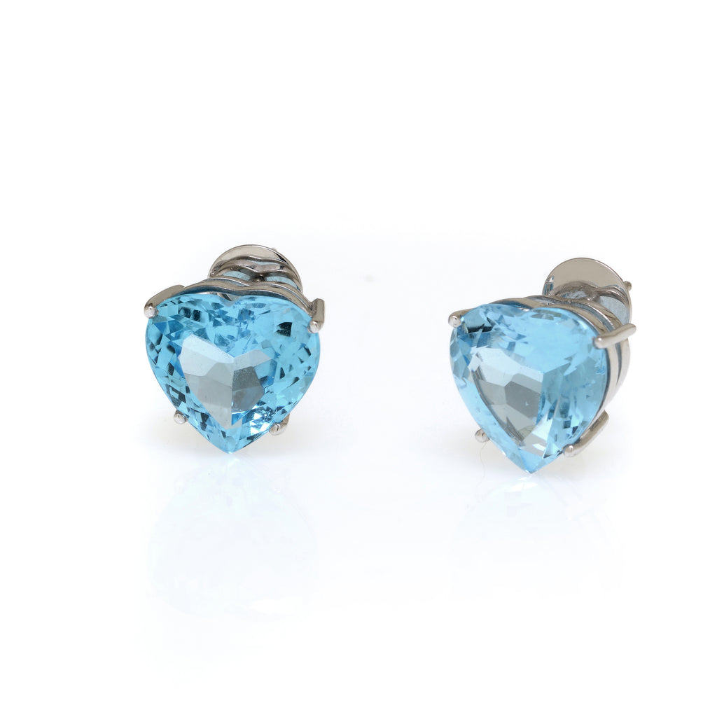 19 Carat Blue Topaz Heart Earrings Set In 14K White Gold