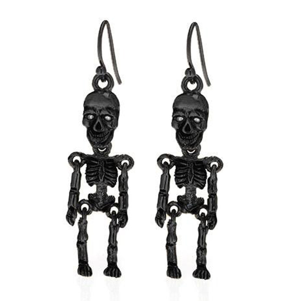 Hematite Skeleton Earrings