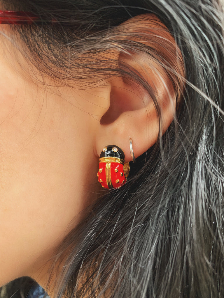 Goldtone Red Lady Bug Hug Earrings