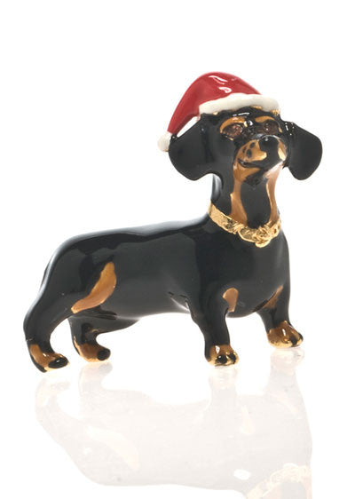 Jet Black Dachshund Christmas Adorable Pooch Pin