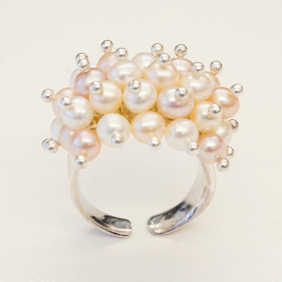 Sterling Silver Fresh Water Pearl Pink and Kiska Ring