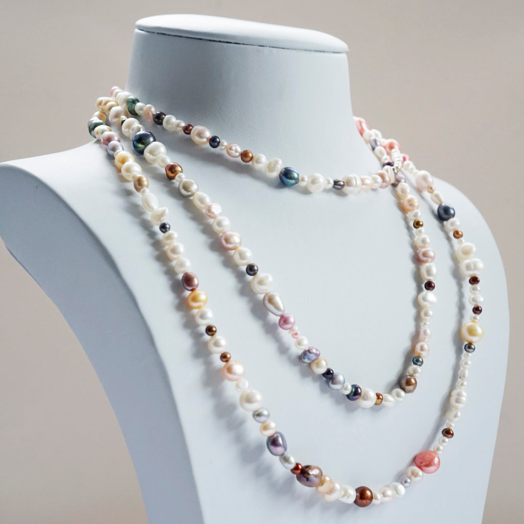 "60""  Mixed Color Fresh Water Pearl Necklace"