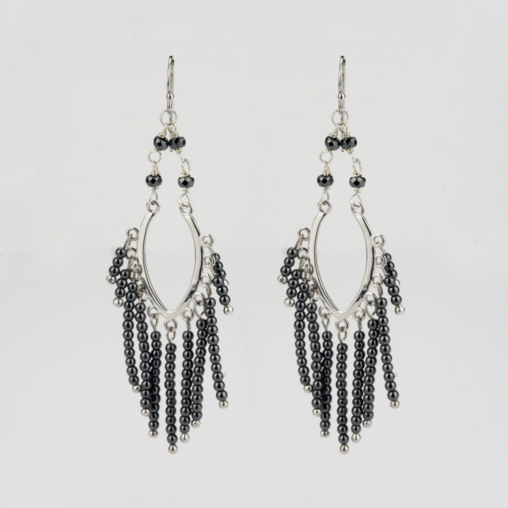 Sterling Silver Drop Earrings with Hematite Beads