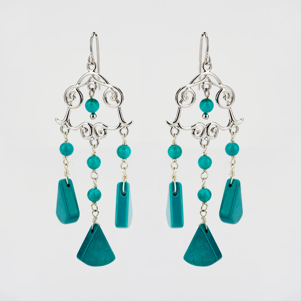 Turquoise Wind Chime Drop Earrings