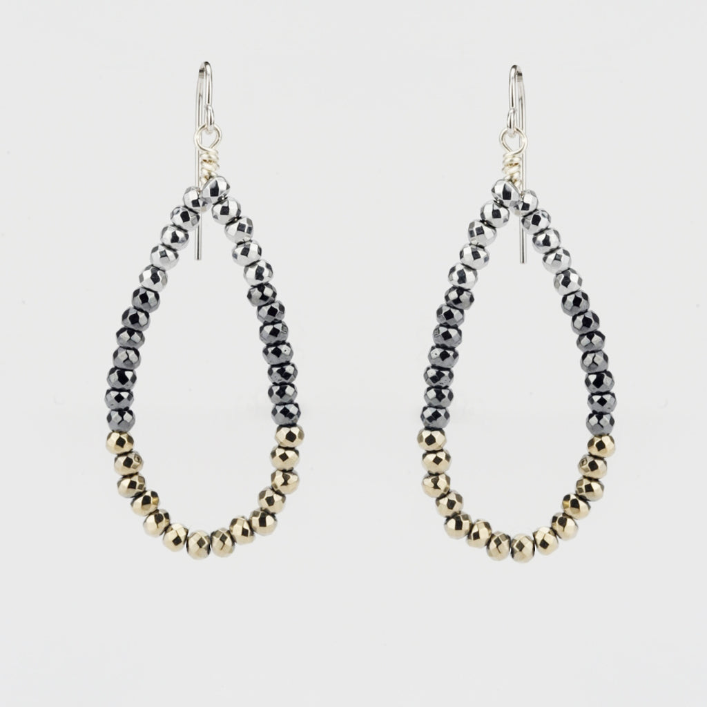 Sterling Silver Drop Earrings With Hematite and Goldtone Beads