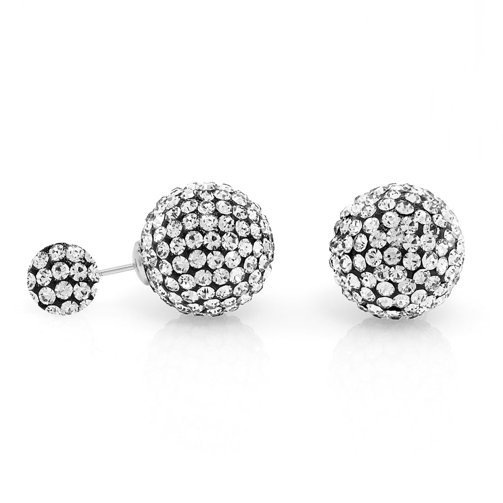 Sterling Silver Black Bubble Back Crystal Ball Earrings