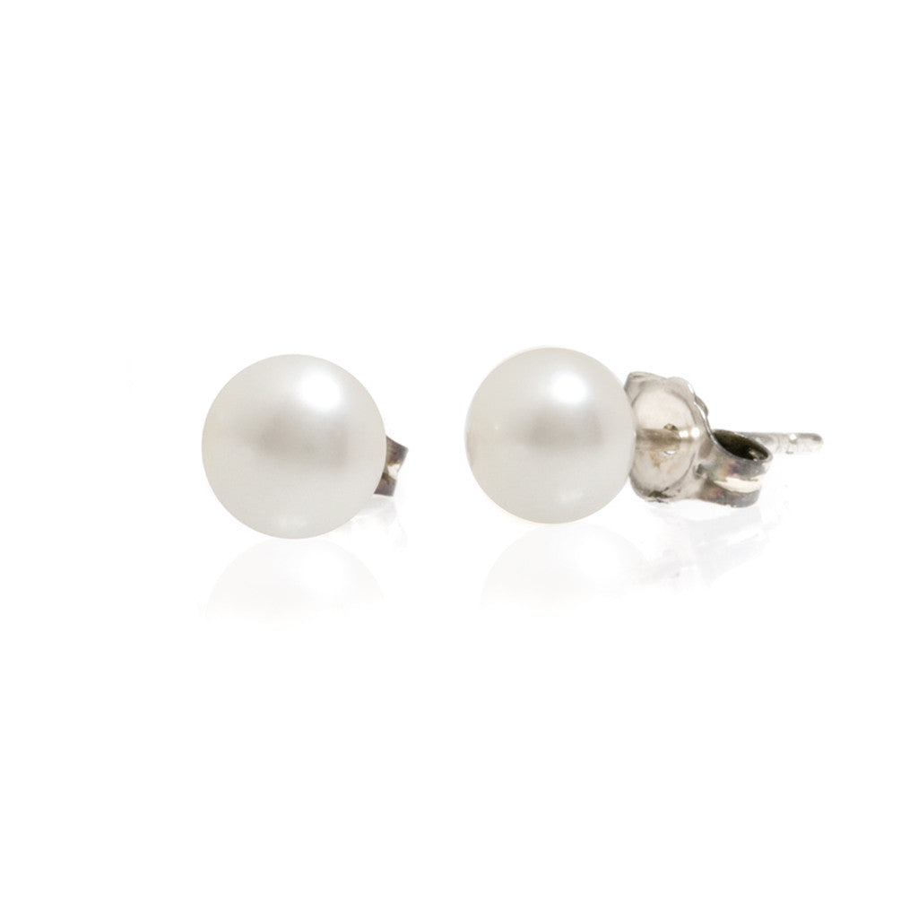 Sterling Silver Flat Fresh Water Pearl Studs