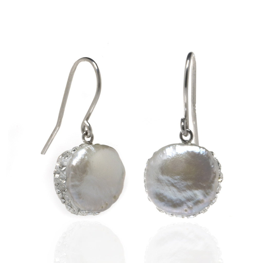 Rare Baroque Freshwater Pearl Round Drop Earrings