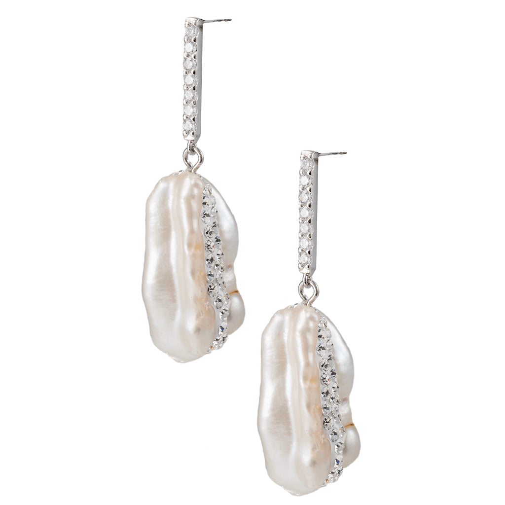Sterling Silver Baroque Pearl with Pave Drop Earrings