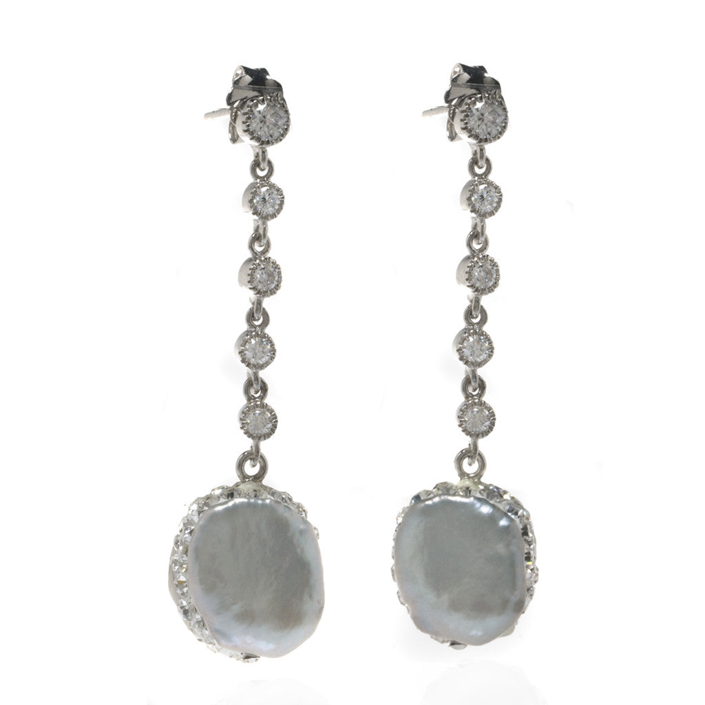 Freshwater Pearl Sterling Silver CZ Drop Earrings