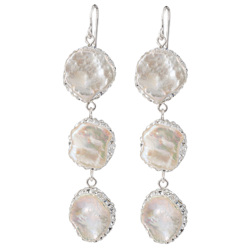 Sterling Silver Baroque Pearl with Pave Triple Drop Earrings Euro Wire