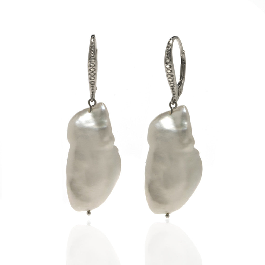 Rare Freshwater Baroque Pearl Drop Earrings