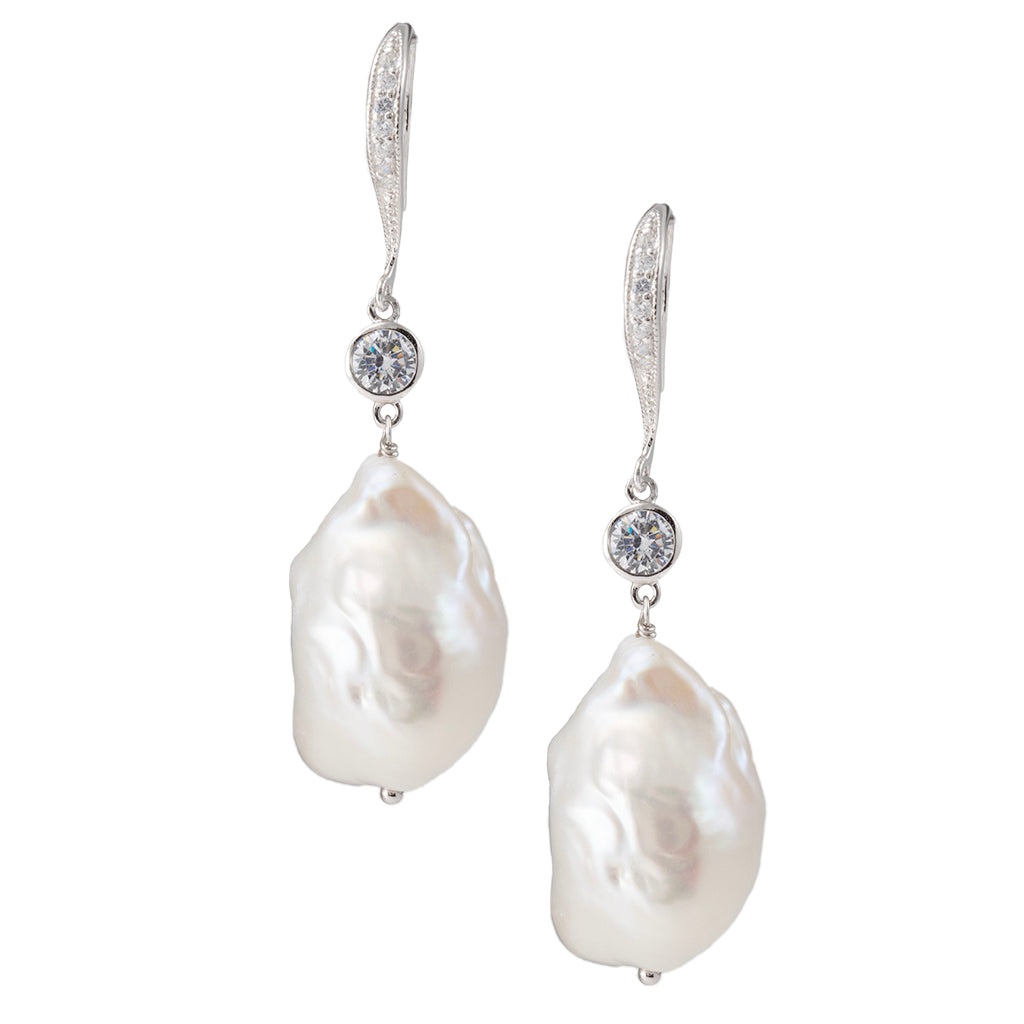 Sterling Silver Baroque Pearl with Crystal  Drop Earrings