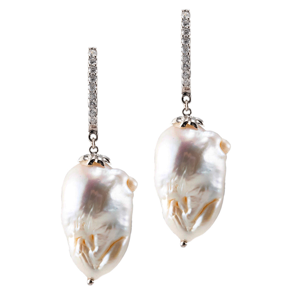 Sterling Silver Baroque Pearl with Cubic Zirconia Drop Earrings