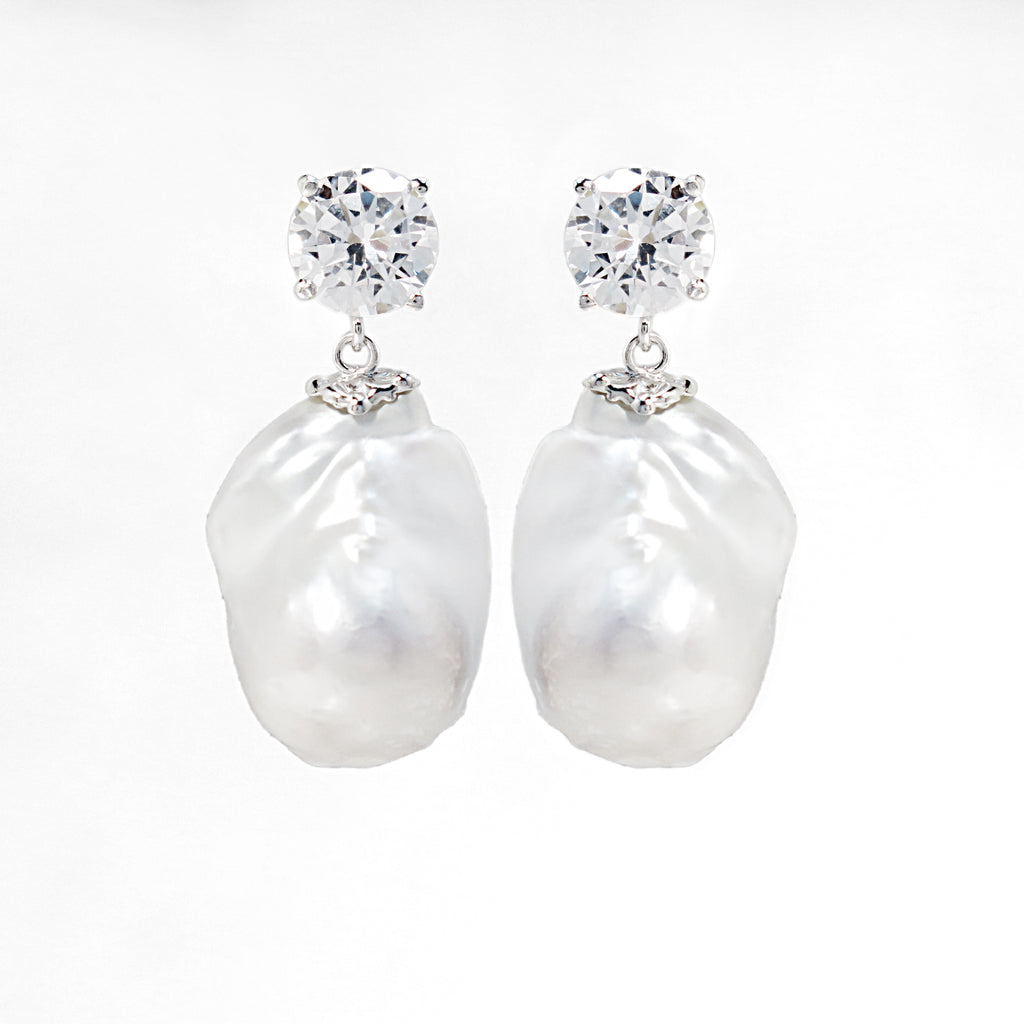 Rare Baroque Freshwater Pearl Earrings Sterling Silver